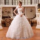 2014 new Bride shoulder strap wedding dress one shoulder paillette bandage lacing bridal gown ball gown vestido de noiva A165