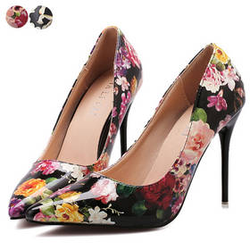 Women Ladies Platform Floral Patnet Leather Pointed Toe Office Lady Thin Stiletto Heel Court Shoes Pumps