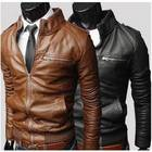Winter Men slim stand collar washed Motorcycle Fit PU Leather Jacket Male Coat Outerwear 3Colors Plus Size M-XXXL Free Shipping