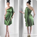 Free Shipping Satin  Knee Length Charmuese One shoulder kimono sleeve short Cocktail Dress