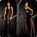 Charmuese  Sleeveless Full Length With X-Cross Back Ring Bridesmaid Dress