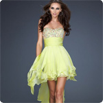 2012 Cocktail Dress 17687 Sweetheart Hi-Lo Sleeveless Chiffon Beading Prom Dress