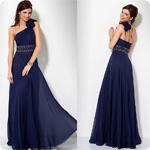 Custom Made 2012 Summer Asymetrical One Ruffled Strap One Shoulder Evening Gown Dresses