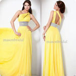 Wholesale - Fashion Yellow Unique design Prom Dresses Chiffon Sheath One-shoulder Pleated Rhinestore Party dress