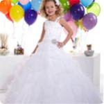 Beautiful  Flower Girl Dress Organza Skirt With Off-the-shoulder Neckline  and  Beaded  Floor-length