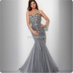 Wholesale - Beaded Stone Gray Chiffon silk Prom Party Ball Evening Dresses Pageant dresses 2011