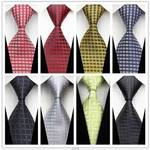 Blue Silver Plaid Multi-color Smooth Jacquard Woven Classic Type Silk Polyester Man's Business Luxury Tie Casual Necktie