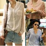 Free shipping 100% good quality cotton women's shirts outerwear,women blouse,ladies' blouse 4 color size M,L,XL