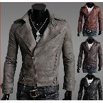 New Slim Sexy Top Designed Mens Pu Leather Jacket men's turn-down collar Coat Colour:Black,Red,Coffee,Gray Size M L XL XXL