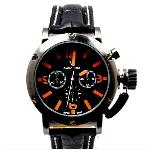6 Hands Men's Wrist Quartz Watch with Black Dial Belt on wholesale*(NBW0FA5203-OR1)