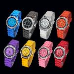 Free shipping promotion!popular selling Rheinstone Silicon jelly watch colourfull watch