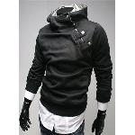 Highest Rate Freeshipping L-3XL Black Grey New Mens Stylish Slim Zipper hoodies jackets Hoody Fur collar Man autaum coat Man's Pullover hoodies Outwear