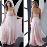 Free Shipping Newest Designing  Pink Chiffon Strapless Beaded Floor Length Evening Dress Designer