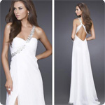 Free Shipping 2012 Hot Sale One Shoulder White Beaded Floor Length Custom  Chiffon cheap prom dress